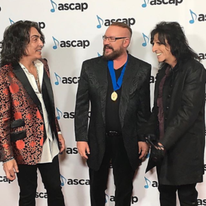 Desmond Child with Paul Stanley and Alice Cooper